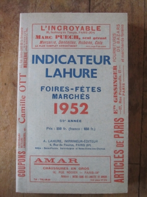 INDICATEUR LAHURE / FOIRES-FETES-MARCHES   /  1952