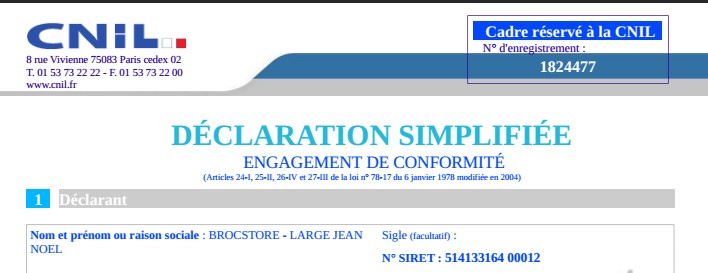 inscription CNIL